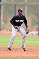Colorado Rockies first baseman Correlle Prime (44) during an Instructional League game against the Arizona Diamondbacks on October 8, 2014 at Salt River Fields at Talking Stick in Scottsdale, Arizona.  (Mike Janes/Four Seam Images)
