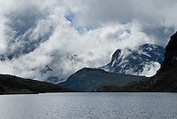 Clearing storm over mountains and lake in Jotunheimen national park, Norway