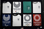 Tokyo Olympics 2020 Showroom September 14, 2017: samples of Tokyo 2020 t-shirts are displayed in a shop in Harajuku, in Tokyo on September 14, 2017. A Tokyo Olympics 2020 showroom open for short term in the fashionable area of Harajuku, in Tokyo. (Photo by Nicolas Datiche/AFLO) (JAPAN)