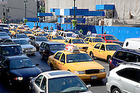 Traffic jam with taxis in New York City.