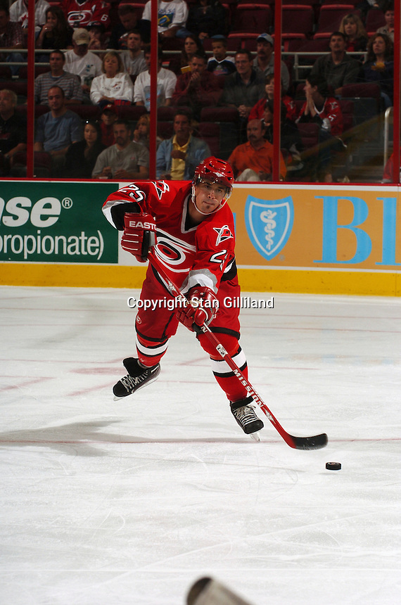 Carolina Hurricanes' Bruno St. Jacues passes up the ice during a game with the Tampa Bay Lightning Thursday, Sep. 22, 2005 in Raleigh, NC. Carolina won 5-2.