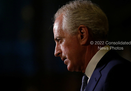 United States Senator Bob Corker (Republican of Tennessee) speaks to reporters in the lobby of Trump Tower on November 29, 2016 in New York City.   <br /> Credit: John Angelillo / Pool via CNP