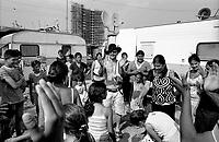 milano, periferia nord. festa organizzata dal centro sociale torchiera al campo di nomadi rom romeni di via triboniano --- milan, north periphery. party organized by torchiera social center at rumanian nomads camp of triboniano street