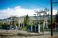 ELECTRIC POWER SUBSTATION<br /> Electrical Sub-station, Photographed In 2001.At the substation the voltage may be transformed down to levels of 69,000 to 138,000 V for further transfer on the subtransmission system.