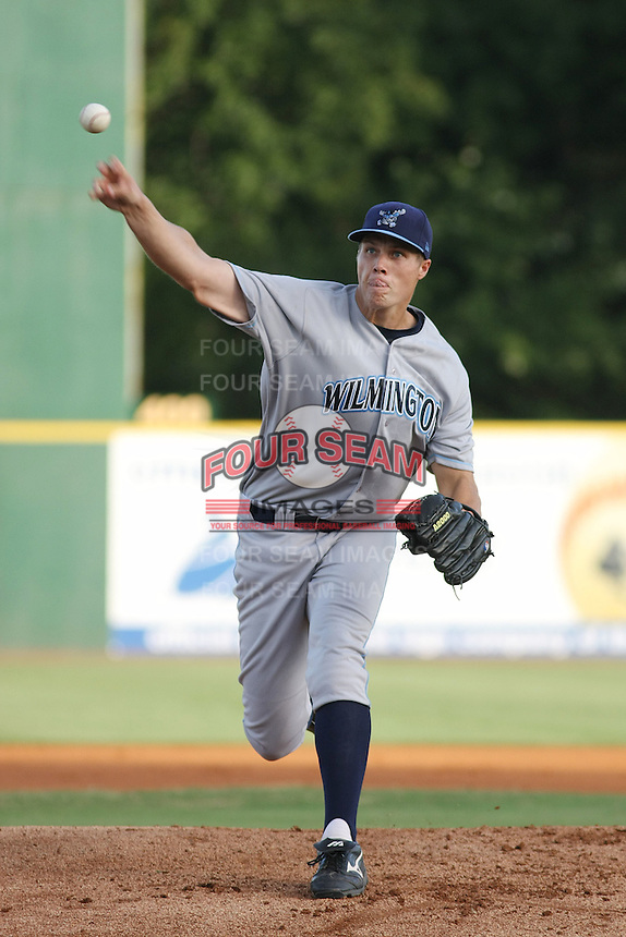 Wilmington Blue Rocks pitcher Bryan Paukovits #45 pitching during a game vs. the Myrtle Beach Pelicans at BB&T Coastal Field in Myrtle Beach, SC on July 19, 2010.   Wilmington defeated Myrtle Beach by the score of 2-0.  Photo By Robert Gurganus/Four Seam Images