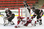 Kyle Criscuolo (Harvard - 11), Joey de Concilys (Brown - 11) - The Harvard University Crimson defeated the Brown University Bears 4-3 to sweep their first round match up in the ECAC playoffs on Saturday, March 7, 2015, at Bright-Landry Hockey Center in Cambridge, Massachusetts.