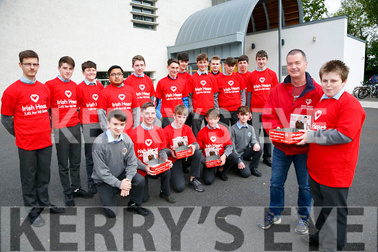 The Launch of the Irish Heart Foundation'Happy Hearts' collection appeal. Pictured local co-ordinator Jim McNeice and Gavin Duffy with members of CBS the Green Tralee Students Council collecting  on the 11th & 12th May