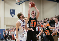 #20 Austin DeWitz<br /> The Occidental College men's basketball team plays against Pomona-Pitzer in the SCIAC Tournament Championship on Saturday, Feb. 23, 2019 in Claremont. Oxy lost, 68-45.<br /> Oxy finishes with its best overall record since 2007-08 at 22-5 overall, and went 12-4 in SCIAC play for the second season in a row.<br /> (Photo by Marc Campos, Occidental College Photographer)