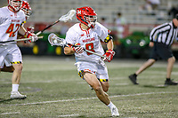 College Park, MD - April 27, 2019: Maryland Terrapins midfielder Roman Puglise (8) in action during the game between John Hopkins and Maryland at  Capital One Field at Maryland Stadium in College Park, MD.  (Photo by Elliott Brown/Media Images International)