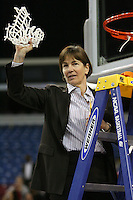 SACRAMENTO, CA - MARCH 29: Tara VanDerveer cuts the net after Stanford's 55-53 win over Xavier in the NCAA Women's Basketball Championship Elite Eight on March 29, 2010 at Arco Arena in Sacramento, California.