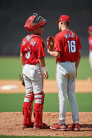 Philadelphia Phillies pitcher Tyler McKay (16) talks with catcher Arturo De Freitas (3) in a mound visit during a Florida Instructional League game against the New York Yankees on October 11, 2018 at Yankee Complex in Tampa, Florida.  (Mike Janes/Four Seam Images)