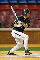 Charlie White #3 of the Maryland Terrapins follows through on his swing against the Wake Forest Demon Deacons at Wake Forest Baseball Park on March 9, 2012 in Winston-Salem, North Carolina.  The Demon Deacons defeated the Terrapins 10-5.  (Brian Westerholt/Four Seam Images)