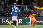 03.10.2019 Young Boys of Bern v Rangers: Allan McGregor guides the ball out as Jean Pierre Nsame challenges