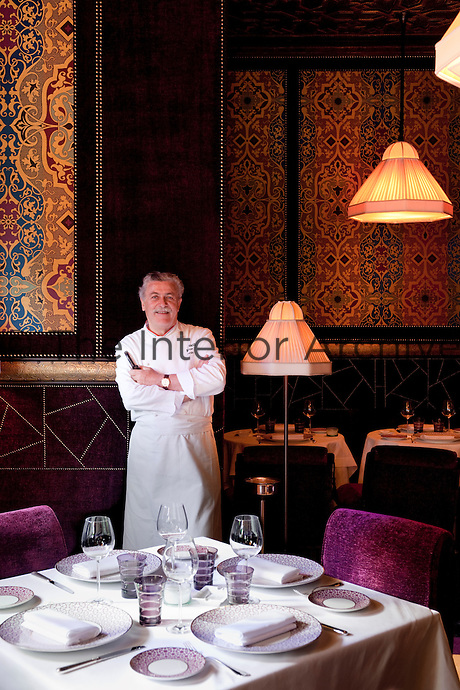 Chef Alfonso Jaccarino in the dining room of Le Restaurant Italian at the Hotel La Mamounia