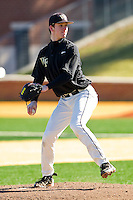 Connor Kaden #40 of the Wake Forest Demon Deacons in action during an intrasquad game at Wake Forest Baseball Park on January 29, 2012 in Winston-Salem, North Carolina.  (Brian Westerholt / Four Seam Images)