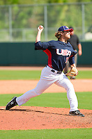 Pete Andrelczyk #17 of the United States World Cup/Pan Am Team in action during the exhibition game against Team Canada at the USA Baseball National Training Center on September 29, 2011 in Cary, North Carolina.  (Brian Westerholt / Four Seam Images)