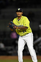 Closing pitcher Darwin Ramos (34) of the Columbia Fireflies in a game against the Augusta GreenJackets on Friday, April 6, 2018, at Spirit Communications Park in Columbia, South Carolina. Columbia won, 7-2. (Tom Priddy/Four Seam Images)