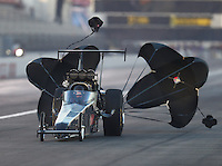 Feb 9, 2017; Pomona, CA, USA; NHRA top alcohol dragster driver Shawn Cowie during qualifying for the Winternationals at Auto Club Raceway at Pomona. Mandatory Credit: Mark J. Rebilas-USA TODAY Sports