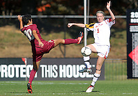 COLLEGE PARK, MD - OCTOBER 21, 2012:  Ashley Spivey (8) of the University of Maryland goes for the ball against Nora Kervroedan (20) of Florida State during an ACC women's match at Ludwig Field in College Park, MD. on October 21. Florida won 1-0.