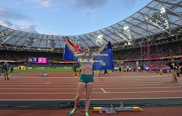 Sally Pearson (AUS) celebrates her win in the womens 100m hurdles semi-final. IAAF world athletics championships. London Olympic stadium. Queen Elizabeth Olympic park. Stratford. London. UK. 12/08/2017. ~ MANDATORY CREDIT Garry Bowden/SIPPA - NO UNAUTHORISED USE - +44 7837 394578
