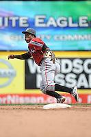 Altoona Curve infielder Gilft Ngoepe (10) during game against the Trenton Thunder at ARM & HAMMER Park on August 6, 2014 in Trenton, NJ.  Trenton defeated Altoona 7-3.  (Tomasso DeRosa/Four Seam Images)
