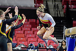 Gymnast Sarah Faller celebrates after completing her routine on the bar wShen the Terps competed against Kentucky, Penn, & William & Mary on Feb. 19, 2017 at Xfinity Center. Christian Jenkins/The Diamondback
