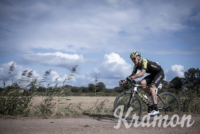 Michael Hepburn (AUS/Mitchelton Scott) riding a gravel sector. <br /> <br /> Antwerp Port Epic 2019 <br /> One Day Race: Antwerp > Antwerp 187km<br /> <br /> ©kramon