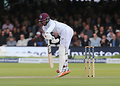 9th September 2017, Lords Cricket Ground, London, England; International test match series, third test, Day 3; England versus West Indies; West Indies Shai Hope narrowly escapes being bowled out Leg Before Wicket by England Bowler Stuart Broad