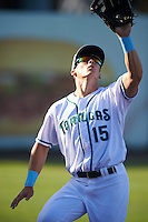 Daytona Tortugas left fielder Jeff Gelalich (15) during a game against the Fort Myers Miracle on April 17, 2016 at Jackie Robinson Ballpark in Daytona, Florida.  Fort Myers defeated Daytona 9-0.  (Mike Janes/Four Seam Images)