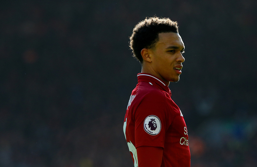 Liverpool's Trent Alexander-Arnold<br /> <br /> Photographer Alex Dodd/CameraSport<br /> <br /> The Premier League - Liverpool v Burnley - Sunday 10th March 2019 - Anfield - Liverpool<br /> <br /> World Copyright © 2019 CameraSport. All rights reserved. 43 Linden Ave. Countesthorpe. Leicester. England. LE8 5PG - Tel: +44 (0) 116 277 4147 - admin@camerasport.com - www.camerasport.com