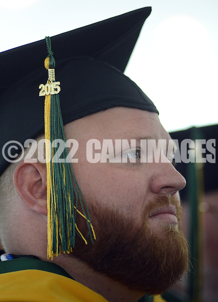 Allen Bardar of Sellersville, Pennsylvania listens attentively during commencement ceremonies Saturday May 16, 2015 at Delaware Valley University in Doylestown, Pennsylvania. This is the first class to graduate from Delaware Valley University. (Photo by William Thomas Cain/Cain Images)