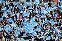 A general view of Racing 92 supporters. European Rugby Champions Cup Final, between Saracens and Racing 92 on May 14, 2016 at the Grand Stade de Lyon in Lyon, France. Photo by: Patrick Khachfe / Onside Images