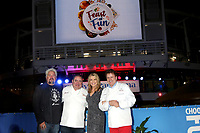 LOS ANGELES - DEC 10:  Guy Fieri, Emeril Lagasse, Vanna White, Rudi Sodamin at the Carnival Panorama Press Day at Long Beach Carnival Cruise Terminal on December 10, 2019 in Long Beach, CA