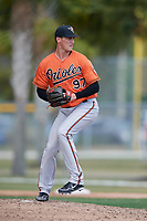 Baltimore Orioles pitcher Tanner Chleborad (97) during a Minor League Spring Training game against the Boston Red Sox on March 20, 2018 at Buck O'Neil Complex in Sarasota, Florida.  (Mike Janes/Four Seam Images)