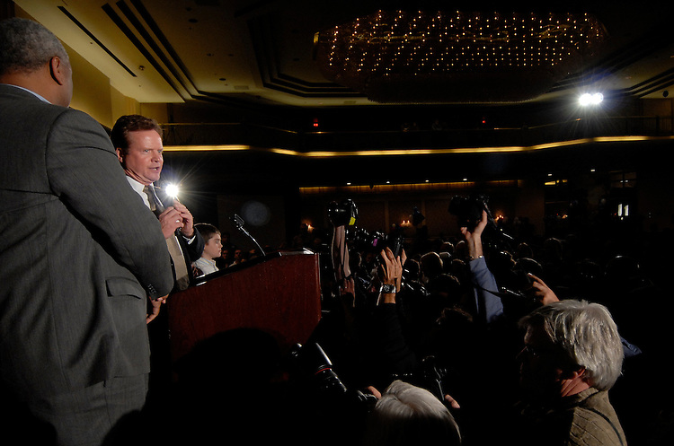 Senate candidate Jim Webb speaks to supporters at a celebration in Vienna, Virginia. November 7, 2006.