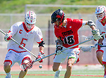 Palos Verdes, CA 03/26/16 - Jarrett Jones (Palos Verdes #6) and Ryan Crawford (San Clemente #18) in action during the CIF Boys Lacrosse game between San Clemente Tritons and the Palos Verdes Seakings at Palos Verdes High School.  Palos Verdes defeated San Clemente 11-6