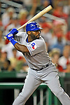 21 June 2008: Texas Rangers' designated hitter Milton Bradley in action against the Washington Nationals at Nationals Park in Washington, DC. The Rangers defeated the Nationals 13-3 in the second game of their 3-game inter-league series...Mandatory Photo Credit: Ed Wolfstein Photo