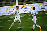 Ryan Thomas (14, left) celebrates his goal with Deklan Wynne during the first leg of FIFA World Cup Russia 2018 qualifying football match between the New Zealand All Whites and Solomon Islands at QBE Stadium in Albany, New Zealand on Friday, 1 September 2017. Photo: Dave Lintott / lintottphoto.co.nz