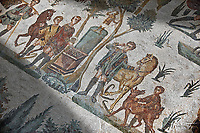 Hunters making an offering at an altar. Roman mosaic floor of the Room of The Small Hunt, no 25 - Roman mosaics at the Villa Romana del Casale ,  circa the first quarter of the 4th century AD. Sicily, Italy. A UNESCO World Heritage Site.