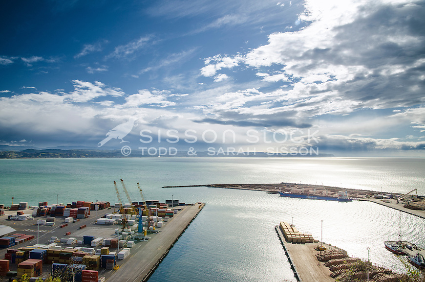 View of Port Napier on sunny day from Bluff Hill. Napier New Zealand.