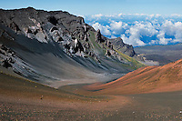 Swirling sands of multi colored lava contribute to the beauty of the crater in HALEAKALA NATIONAL PARK on Maui in Hawaii