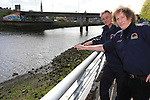 Christy Finglas and Michael Hodgins from the Boyne Fishermen with the area of the river where the log boat was discovered..Picture:  Fran Caffrey www.newsfile.ie ..