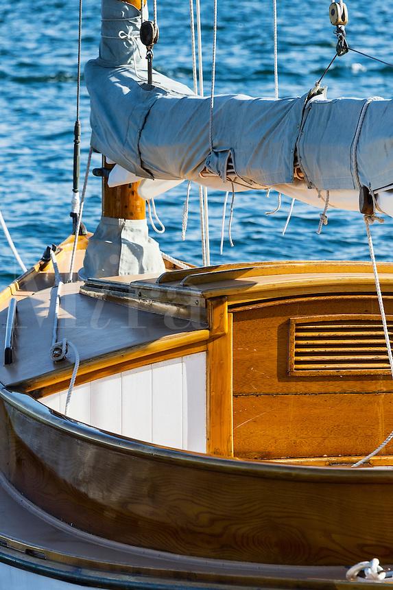 Wood sailboat detail.
