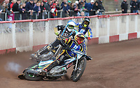 Heat 14 Re-run: Matt Bates (white), Nick Laurence (blue) and Tom Brennan (yellow)<br /> <br /> Photographer Rob Newell/CameraSport<br /> <br /> National League Speedway - Lakeside Hammers v Eastbourne Eagles - Lee Richardson Memorial Trophy, First Leg - Friday 14th April 2017 - The Arena Essex Raceway - Thurrock, Essex<br /> &copy; CameraSport - 43 Linden Ave. Countesthorpe. Leicester. England. LE8 5PG - Tel: +44 (0) 116 277 4147 - admin@camerasport.com - www.camerasport.com