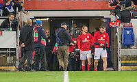 Gareth Bale of Wales puts on a pair of gloves as he heads out for the warm up ahead of the FIFA World Cup Qualifying match between Wales and Serbia at the Cardiff City Stadium, Cardiff, Wales on 12 November 2016. Photo by Mark  Hawkins.