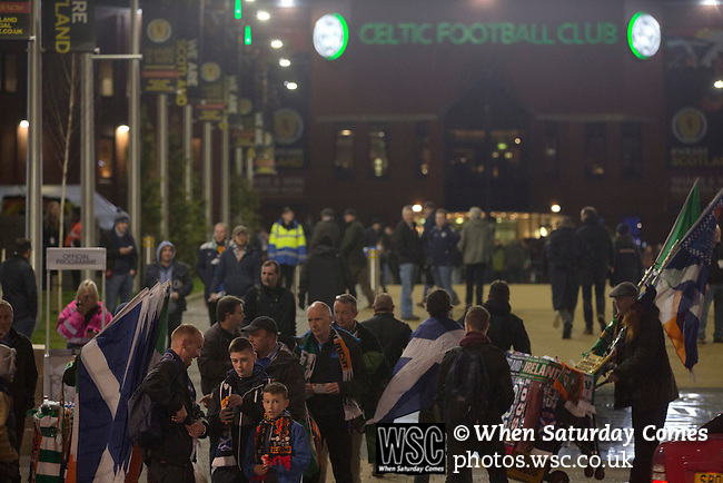 Scotland 1 Republic of Ireland 0, 14/11/2014. Celtic Park, European Championship qualifying. Fans gathering outside the stadium before the European Championship qualifying match between Scotland and the Republic of Ireland at Celtic Park, Glasgow. Scotland won the match by one goal to nil, scored by Shaun Maloney 16 minutes from time. The match was watched by 55,000 at Celtic Park, the venue chosen to host the match due to Hampden Park's unavailability following the 2014 Commonwealth Games. Photo by Colin McPherson.