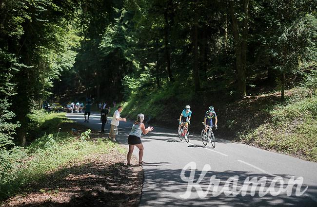Alejandro Valverde (ESP/Movistar) &amp; Fabio Arru (ITA/Astana) leading the race towards the foot of the final climb of the day: the Plateau de Solaison (HC/1508m/11.3km @9.2%) <br /> <br /> 69th Crit&eacute;rium du Dauphin&eacute; 2017<br /> Stage 8: Albertville &gt; Plateau de Solaison (115km)