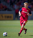 Real Salt Lake defender Justen Glad (15) passes the ball against Los Angeles FC in the first half Saturday, March 10, 2018, during the Major League Soccer game at Rio Tiinto Stadium in Sandy, Utah. LAFC beat RSL 5-1. (© 2018 Douglas C. Pizac)