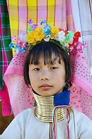 Young Paduang girl, or Long Neck Karen hilltribe, near Chiang Rai, Thailand.
