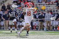 College Park, MD - February 25, 2017: Maryland Terrapins Austin Henningsen (18) scores a goal during game between Yale and Maryland at  Capital One Field at Maryland Stadium in College Park, MD.  (Photo by Elliott Brown/Media Images International)